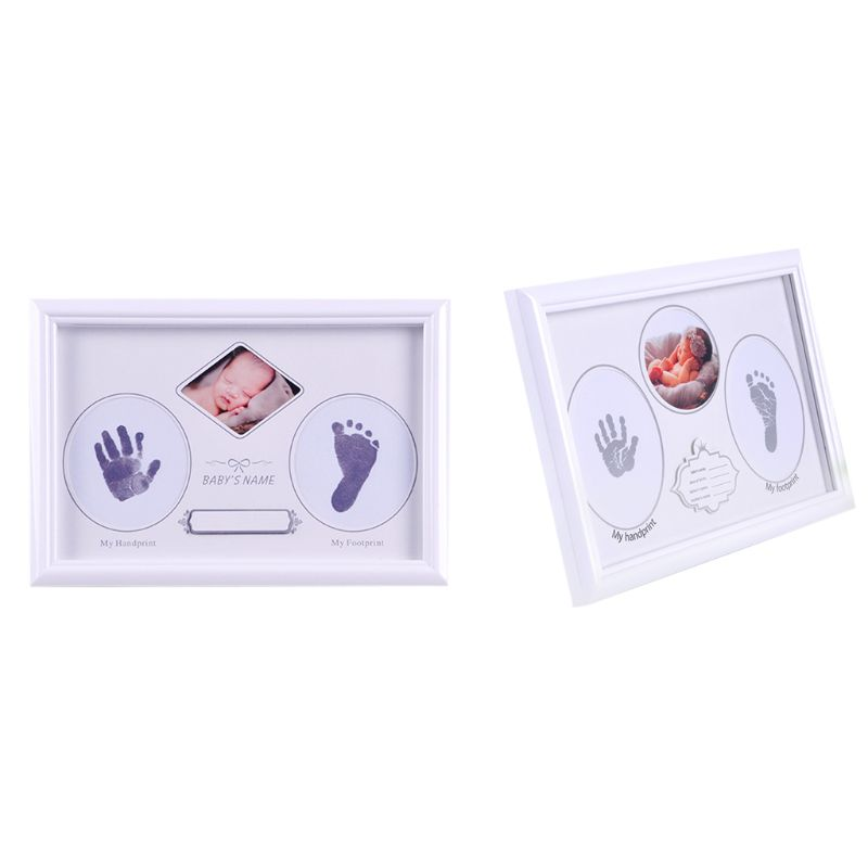 1 Set High Quality Baby Newborn Hand Foot Prints Full Moon Hundred Days Infants Commemorative Frame Wooden Photo Frames Gifts