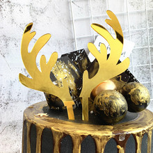Golden Antler Cake Topper Cake Decoration Plaque Christmas Party Dessert Table Decoration Dress Up DIY Birthday Cake Decor G 3pcs golden feathers cake topper dessert decorators
