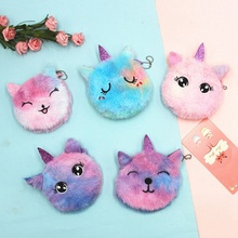 Pouch Coin-Purse Clutch Unicorn Wallet Girl Kids Earphone-Organizer Plush Embroidered