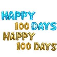 Счастливые 100 дней рождения ребенка Фольга Письмо праздничные украшения из шаров золото серебро розовое золото счастливые 100 дней воздушные шары юбилей Декор