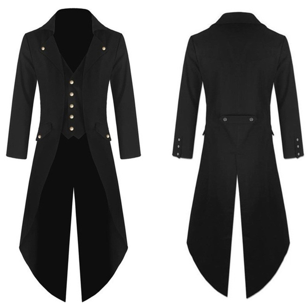 New Autumn <font><b>Winter</b></font> Men's Vintage Leather Lapel <font><b>Jacket</b></font> Solid <font><b>Military</b></font> Uniform Coat Punk <font><b>Style</b></font> Button Casual Long Trench Outwear 10 image