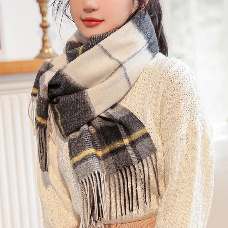 Black Plaid 100% Wool Scarf Women Thicken Cashmere Shawls,Wraps Echarpe Pashmina for Ladies Winter Wool Scarves Foulard Femme