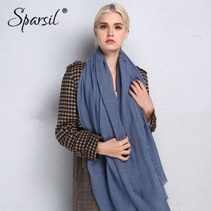 Image 3 - Sparsil Spring New Cotton Women Scarf Solid Color Crumple Retro Scarves With Short Tassels 180cm Big Shawls Muslim Female Hijabs