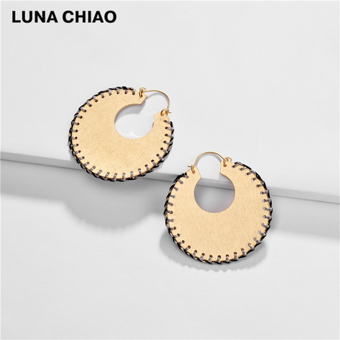 LUNA CHIAO Trendy Fashion Big Metal Hoop Earring Braided Handmade Big Boho Statement Earrings for Women Karachi
