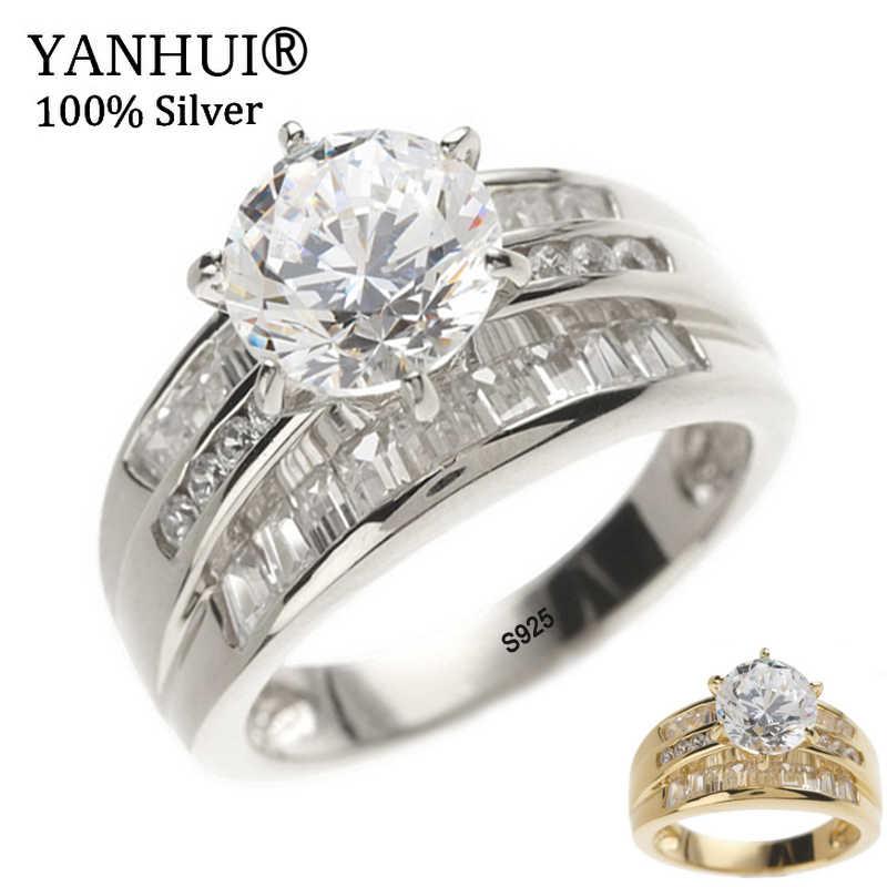 Yanhui Phong Cách Âu Mỹ Thương Hiệu Thật 100% Bạc 925 & Nhẫn Cưới Vàng Mỹ Trang Sức CZ Nữ Nhẫn R166-7