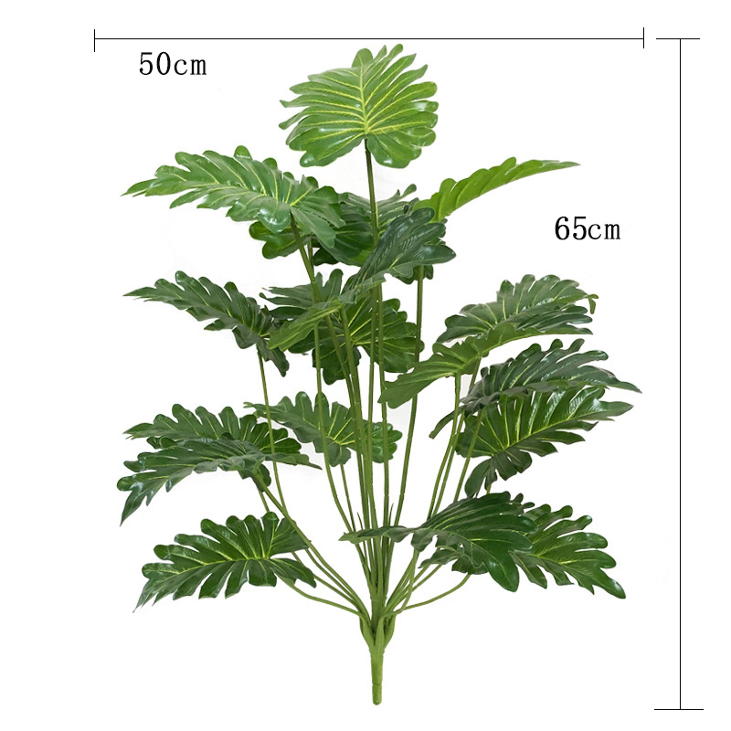 65cm 18 Fork Large Fake Palm Tree Plastic Artificial Plant Monstera Tropical Leaves For Living Room Hawaiian Theme Party Decor