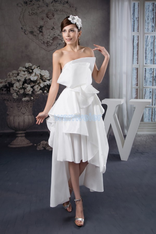 Free Shipping 2016 Arrival Hot Sale Fashion Design Knee-Length Custom Size/color Short Front Long Back White Bridesmaid Dress