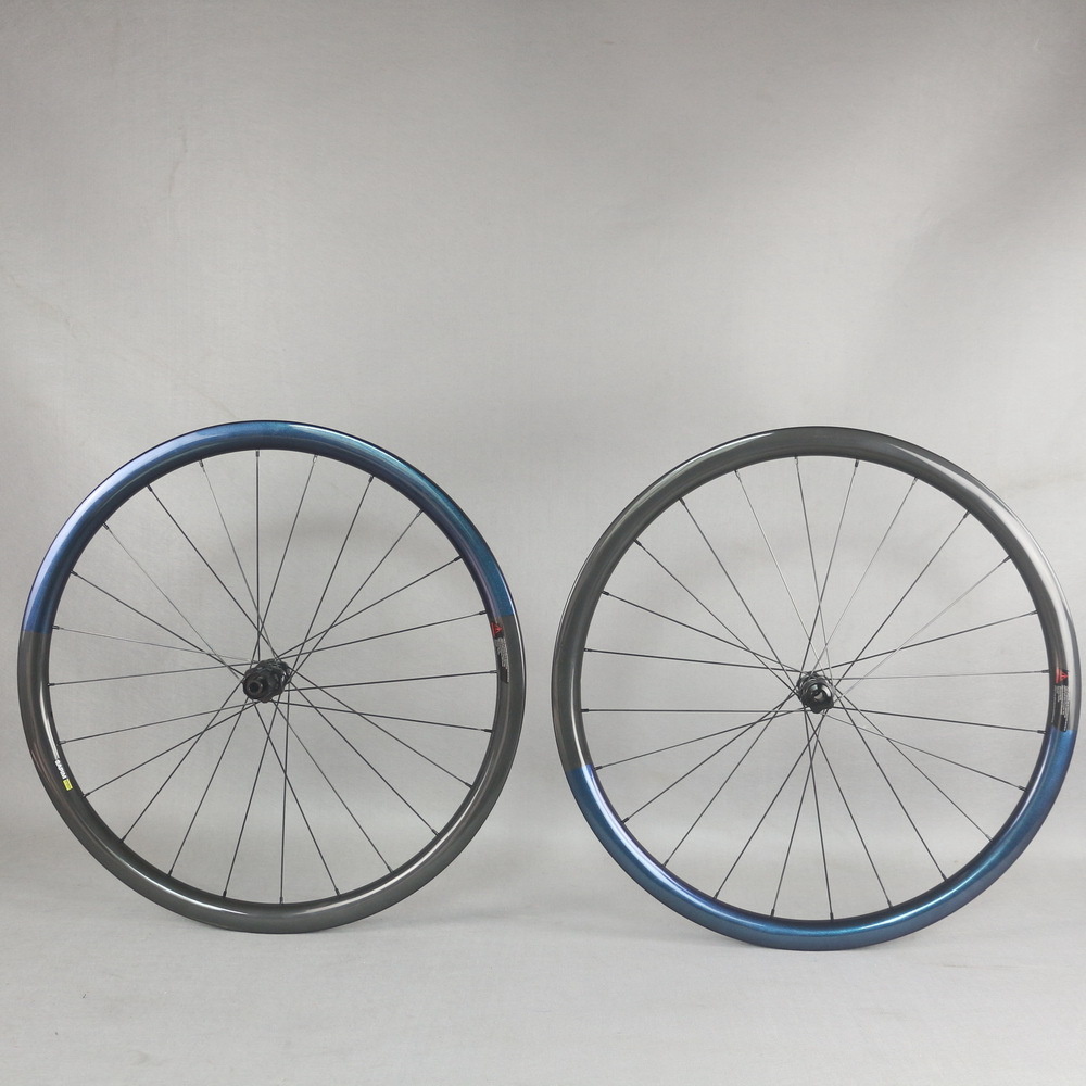 Custom Chameleon  color Aero carbon road disc wheels 35X32mm tubules Rim with 350s hub|Rims| |  - title=