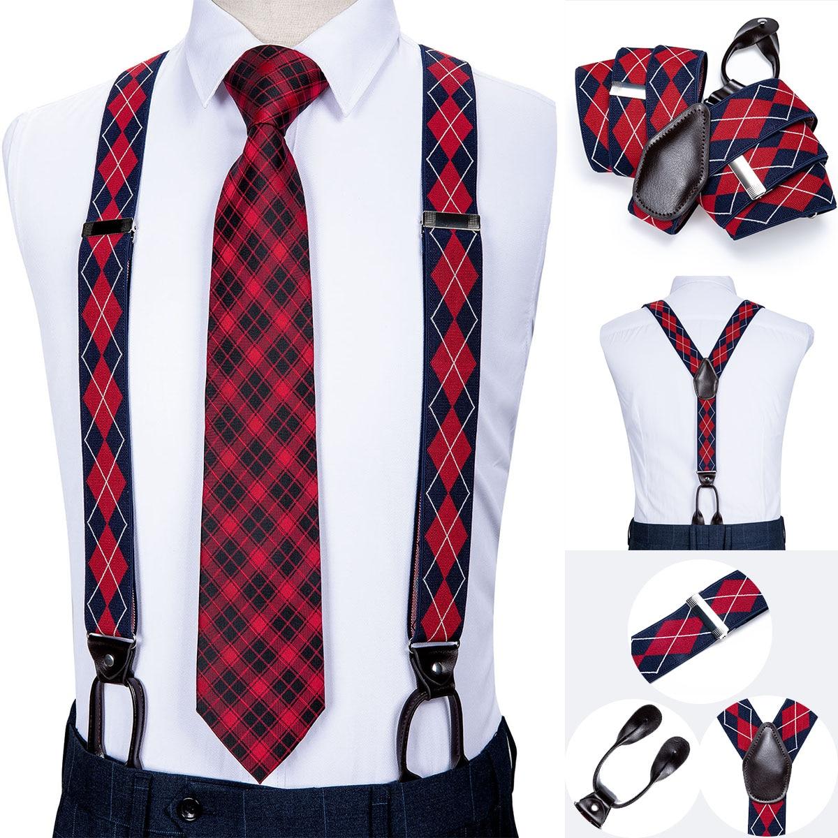 DiBanGu Silk Adult Men's Suspender Leather Metal 6 Buttons Braces Red Blue Plaid Vintage Men Elastic Wedding Suspender Men