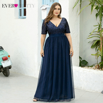 Plus Size Navy Blue Evening Dresses Ever Pretty A-Line V-Neck Sequined Short Sleeve Tulle Elegant Party Gowns Robe De Soiree 2020 elegant navy blue half sleeve evening dresses sequined sexy o neck abendkleider formal party long prom gowns robe de soiree