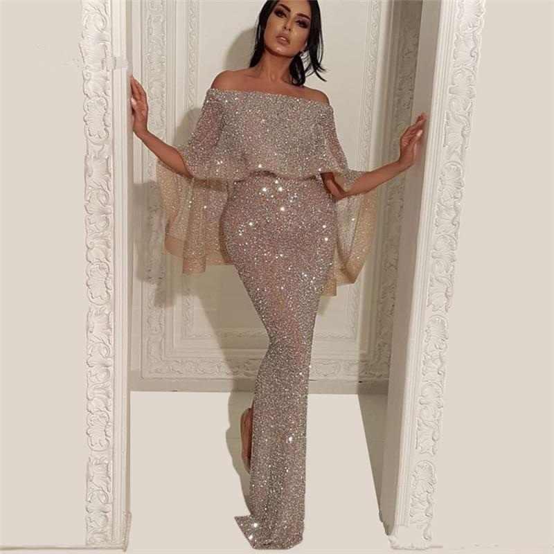 Novo Design Árabe Lantejoulas Sereia Vestido de Noite de Split Piso Comprimento Médio Oriente Vestidos Formais Partido Prom