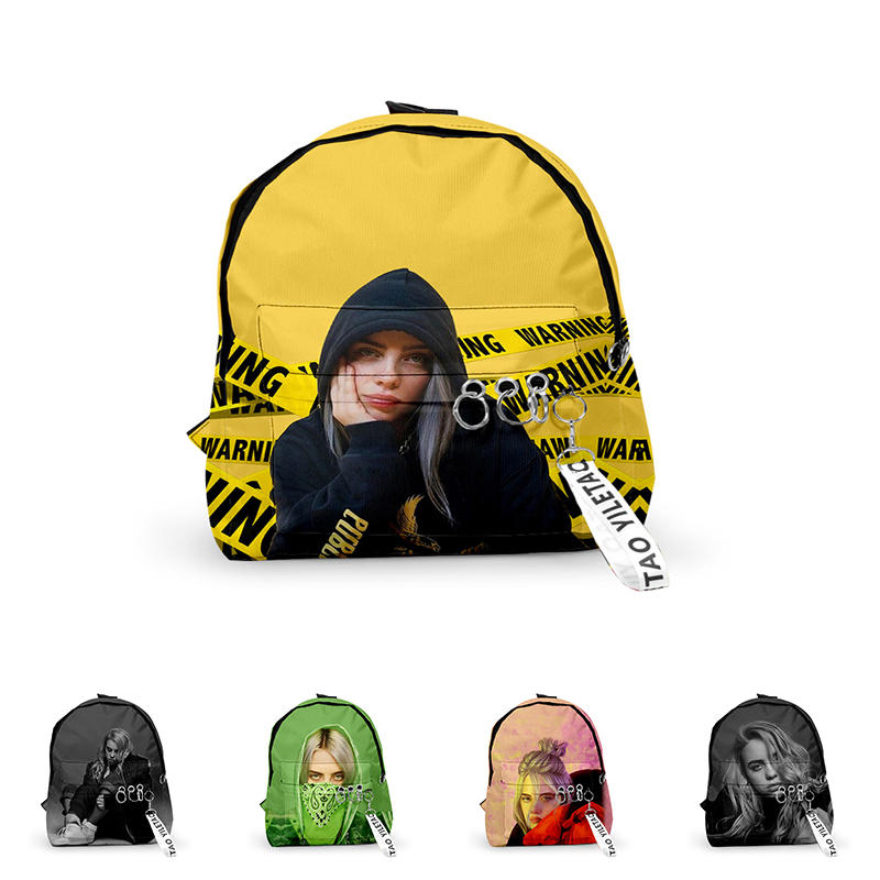 3d Print Billie Eilish Backpacks Men Women School Bags Multi Pocket Travel Bags Teenage 3D Notebook Backpack Nylon Shoulder Bag