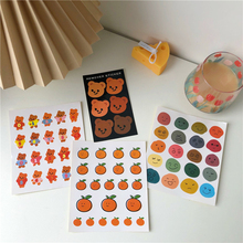 Cute Oranges Smiley Bear Labels Stickers Stationery Cell Phone Case Laptop Kawaii Decorative Seal Japanese Sticker Scrapbooking