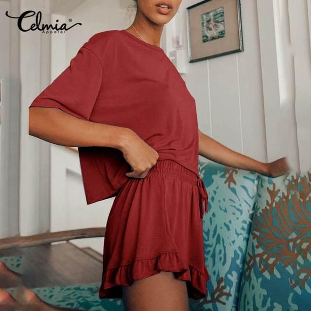 Celmia été pyjama ensembles femmes vêtements de détente décontracté solide Pyjamas ensembles maison costume vêtements O cou à manches courtes hauts 2 pièces ensembles 5XL
