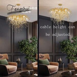 Image 2 - Nordic Luxury Gold Crystal LED Chandelier LOFT Villa Large Lustre LED Pendant Lamp for Living Room Hotel Hall Art Decor Lighting