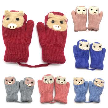 REAKIDS nowe dziecięce rękawiczki zimowe grube rękawiczki dziecięce ciepła wełna dziecięce rękawiczki dzianiny bawełniane rękawiczki dziecięce dziewczęce i chłopięce rękawiczki tanie i dobre opinie COTTON Akrylowe S9R0603016 Dla dzieci 12*8 Zwierząt Unisex Baby Gloves 3-5 years