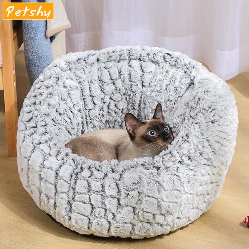 Petshy Round Plush Pet Bed Warm Dog Cat Nest Small Medium Dogs Puppy Sofa Loungers Sleeping Mat Pad Cushion Pet Kennel House