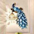 Europeu lâmpada de parede criativo quarto cabeceira sala estar fundo parede luz do corredor escadas villa hotel decoração pavão lâmpadas