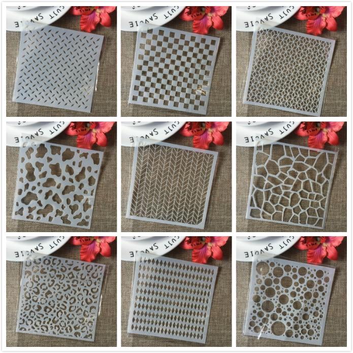 "9Pcs/Set 5"" Block Board Grid Texture DIY Layering Stencils Painting Scrapbook Coloring Embossing Album Decorative Card Template"