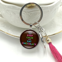 Hot! 2019 New Key Ring Keep Calm and Eat Chocolate Glass Cabochon Pendant Key Chain Tassel Hanging Jewelry god is my refuge and strength a very present help in trouble key chain glass cabochon god jewelry bible verse key rings