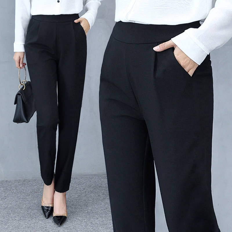 2020x New Spring And Summer Women's Pants Women's Fashion Thin Ankle High Waist Pants Elastic Pants Solid Color Pants