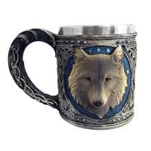 Creative Wolf Mug Beer Mugs Stainless Steel Tankard Water Coffee Cup Tea Mug Pub Bar Decoration Halloween Gift Christmas Gifts