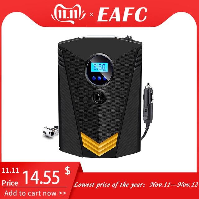 Eafcポータブル 150PSI車のタイヤインフレータデジタルスクリーン空気圧縮機ポンプledライトDC12Vポンプ車のオートバイ