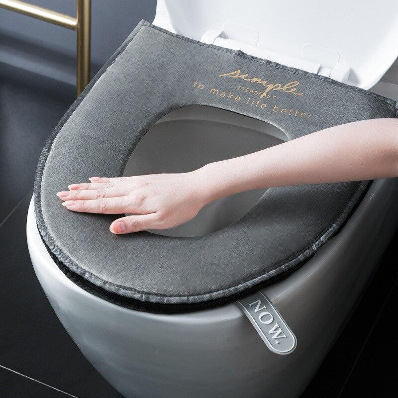 Universal ในครัวเรือนซิปที่นั่งสำหรับฤดูหนาวนุ่มอุ่นล้างทำความสะอาดได้ห้องน้ำที่นั่งทำจากกำม...