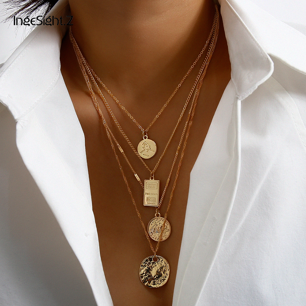 IngeSight.Z 2Pcs/Set Punk Multi Layered Carved Coin Choker Necklace Statement Portrait Square Pendant Necklace for Women Jewelry