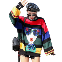 QING MO Women Rainbow Striped Sweater Lantern Sleeve Turtlen