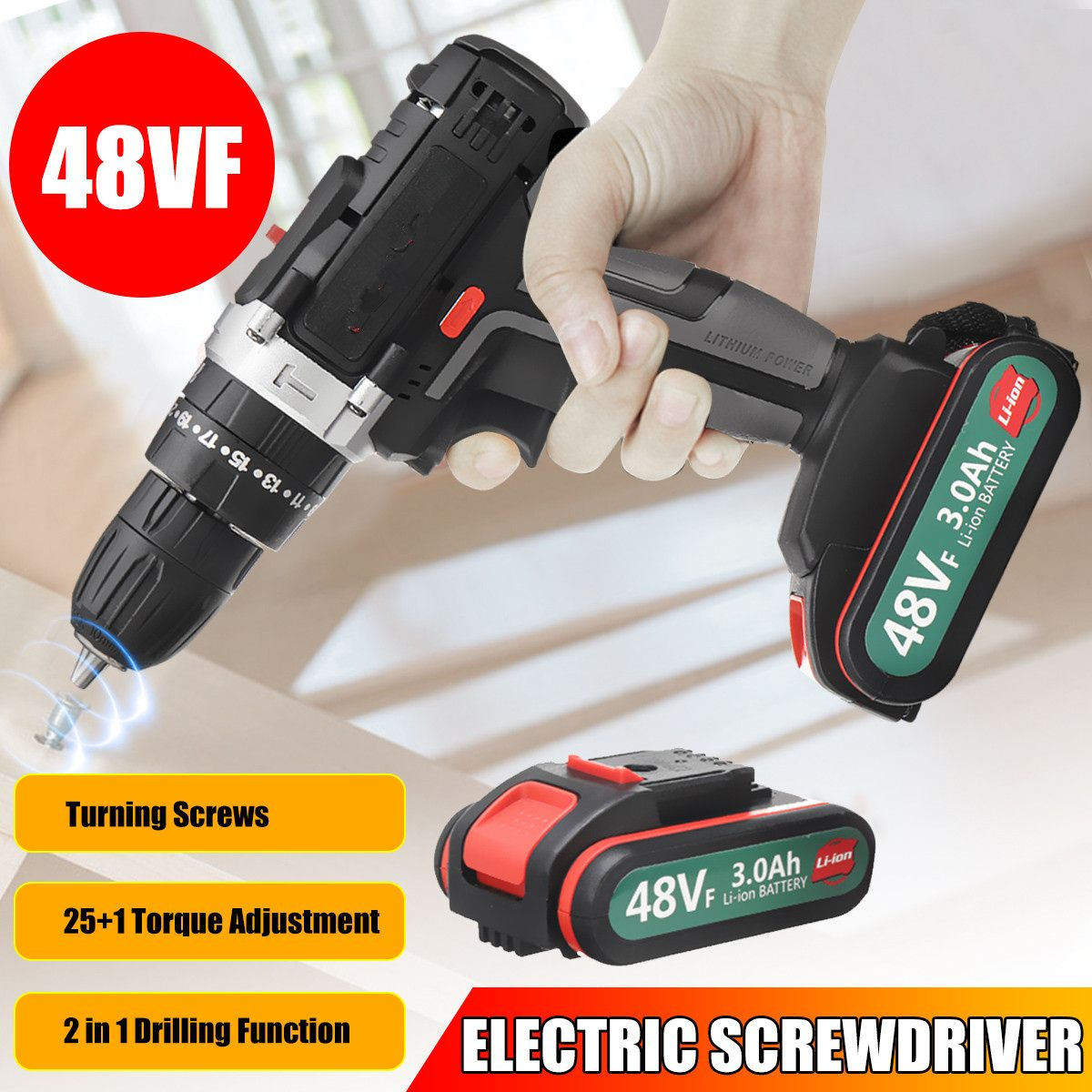 48VF Cordless Electric Screwdriver Impact Drill 25+1 Torque Adjustment Rechargeable LI-ION Battery Electric Drill Power Tools