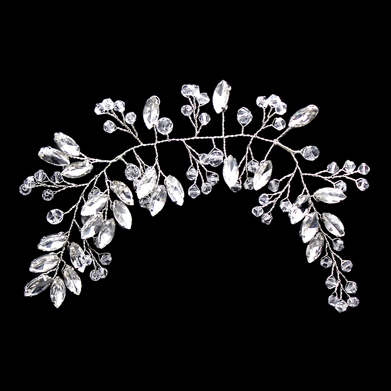 Crystal Beads Pageant Headpieces Floral Bridal Hair Jewelry Rhinestone Prom Headband Bridesmaid Girls Wedding Hair Accessories