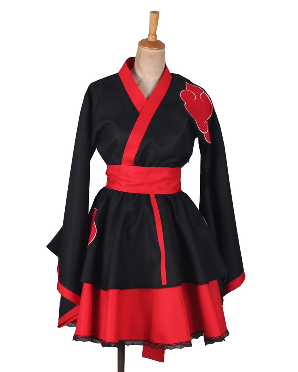 Naruto: Shippuden Akatsuki Costumes NARUTO Sasuke lolita Skirts Lolita kimono dress anime Cosplay Halloween party uniform