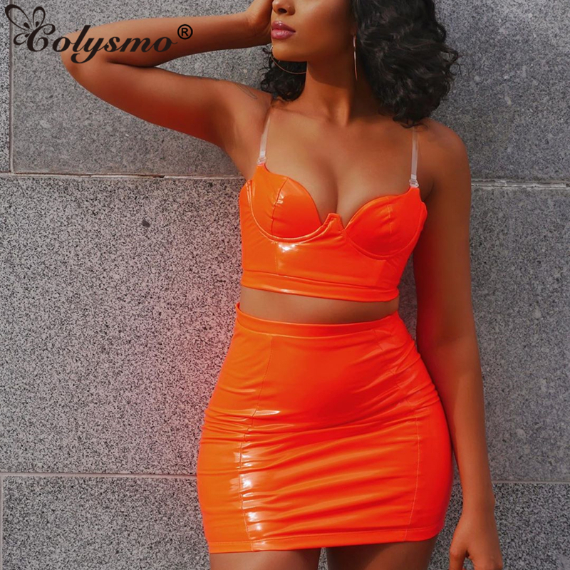 >Colysmo Sexy Neon Two Piece Set PU Leather 2 Piece Set Women Transparent Straps Backless Crop Top Skirt Set Club <font><b>Outfits</b></font> <font><b>Clothes</b></font>