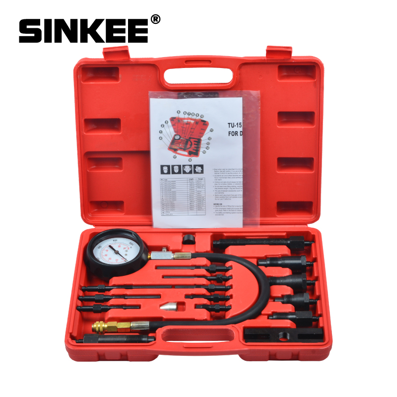 17pc Diesel Engine Compression Cylinder Pressure Tester Gauge Kit Set SK1028