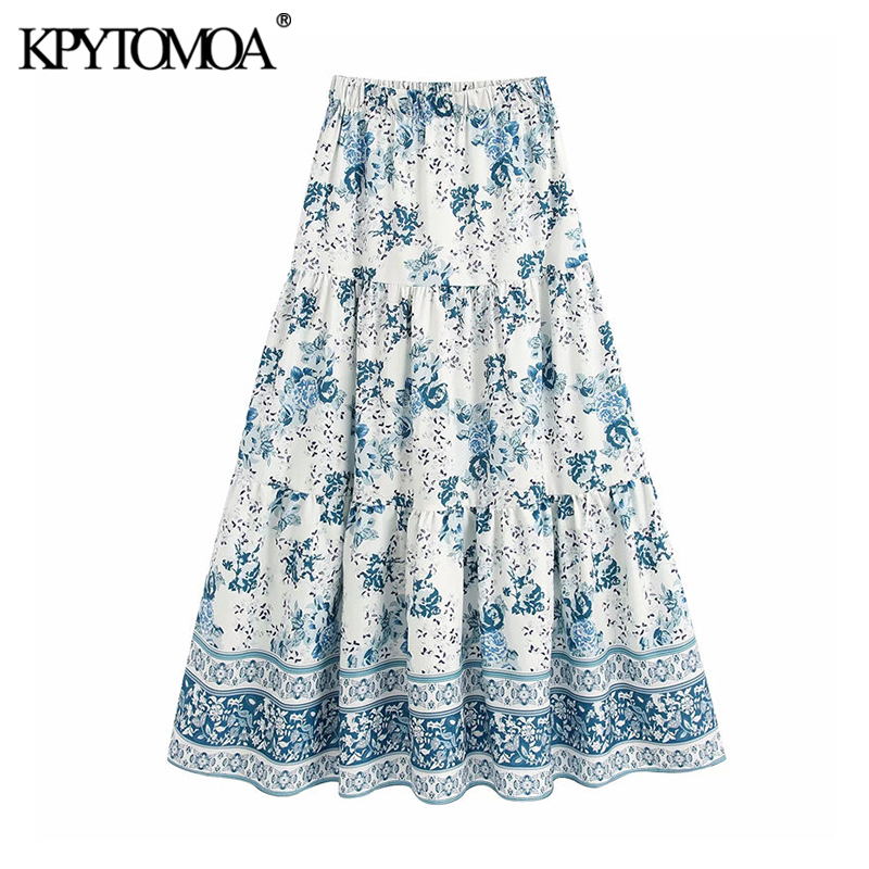 KPYTOMOA Women 2020 Elegant Fashion Floral Print Loose Midi Skirt Vintage High Elastic Waist Female Skirts Casual Faldas Mujer