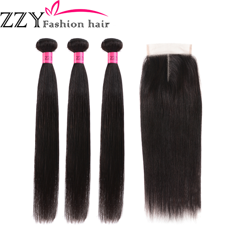 ZZY Fashion Hair Peruvian Hair Bundles With Closure Straight  Hair Bundles With Closure Hair Weave Bundles Non Remy