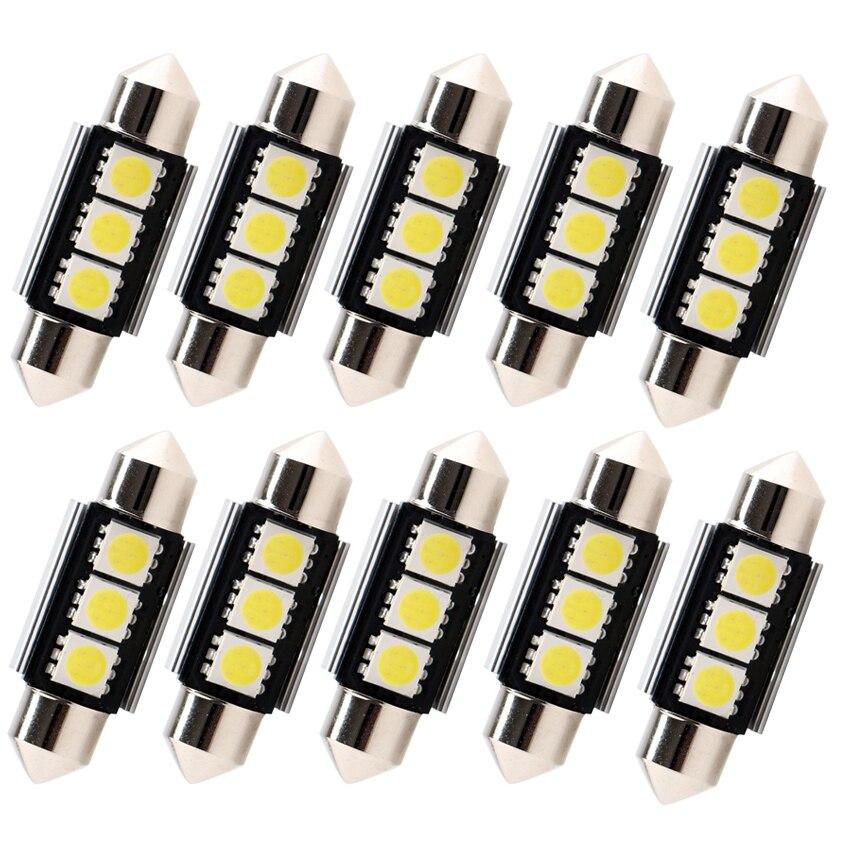 10 шт., Автомобильные светодиодные лампы C5W 36 мм 39 мм 41 мм 3SMD 5050 12 В
