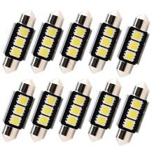 10 pces dome festão luz do carro canbus livre de erros c5w lâmpada led auto lâmpada interior 36mm 39mm 41mm 3smd 5050 led branco 12v