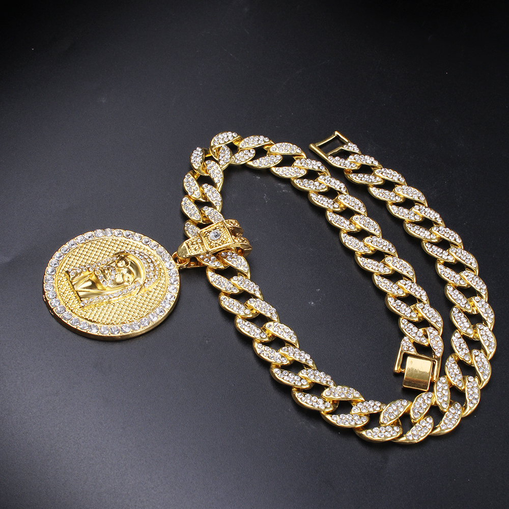 Men Full Iced Out Miami Curb Cuban Chain & Round Jesus Head Pendant Hip Hop Rapper Gold Necklace Religious Jewelry Set