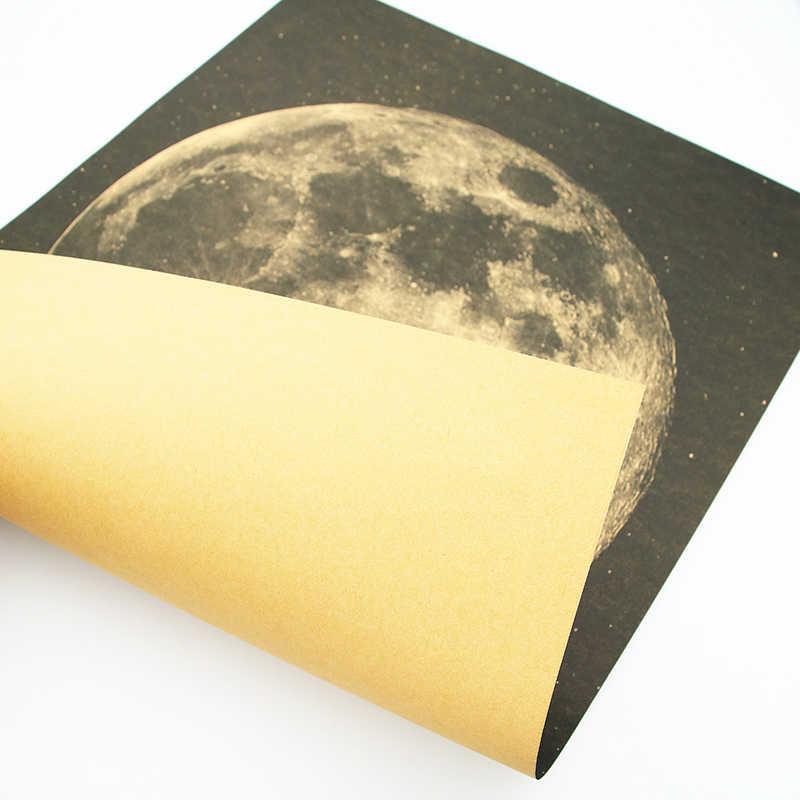Dlkklb Bulan Klasik Poster Langkah Besar untuk Manusia Kertas Kraft Vintage Gaya Stiker Dinding 51X36 Cm Home bar Cafe Dekorasi Lukisan