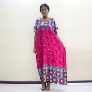Image 5 - Elegant Casual Cotton Traditional Dashiki Print Short Sleeve Long Dress With Scarf African Dresses For Women Plus Size