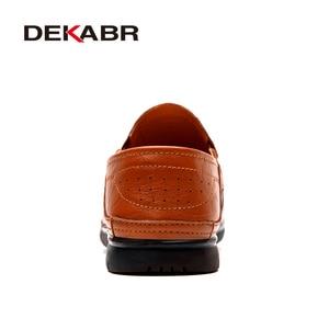 Image 3 - DEKABR prawdziwej skóry mężczyzna przypadkowi buty luksusowej marki 2021 męskie mokasyny oddychające Slip on buty do jazdy samochodem Plus rozmiar 45