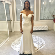 Elegant Mermaid Wedding Dresses Sweetheart Off the Shoulder Lace Appliques Corset Back Bridal Gown Court Train Vestido de Noiva