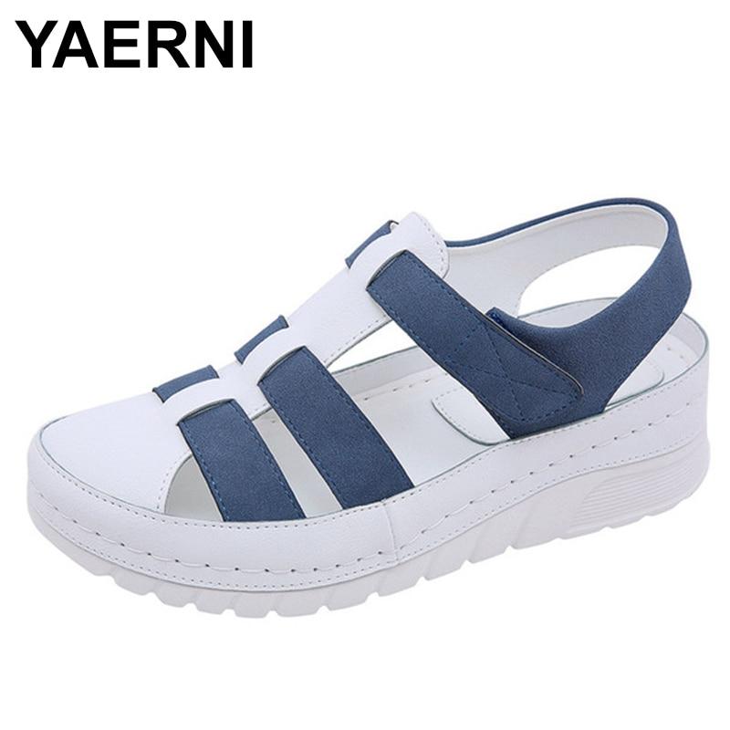YAERNINew Designers Sport Sandals Wedge Hollow Out Women Sandals Outdoor Cool Platform Shoes Woman Beach Summer Shoes Ladies
