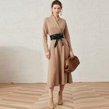 100% Wool Knited Dress Women Long Sleeve