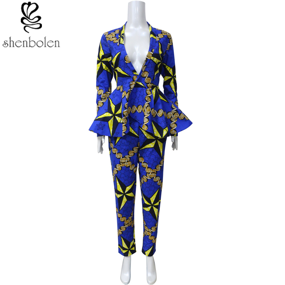 African Clothes For Women Jacket And Pant Set Fashion Suit Ankara Print Material Fashion Jacket Set African Traditional Clothing
