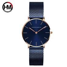Новинка 2021 синие простые дизайнерские японские кварцевые часы