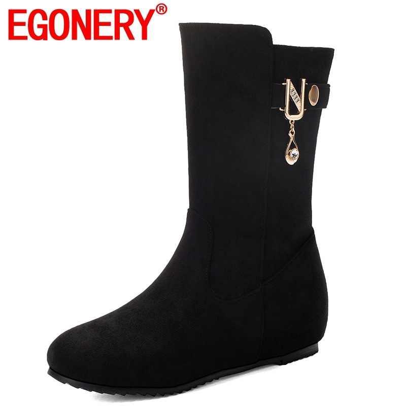 EGONERY 2019 kış yeni orta buzağı çizmeler dışında rahat orta topuklu yuvarlak ayak zip akın kadın ayakkabı damla nakliye boyutu 32-43