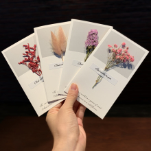 Buy 1pcs Dried Flower Greeting Cards Post Card For Birthday Christmas Valentine' Day Party Wedding Decoration directly from merchant!